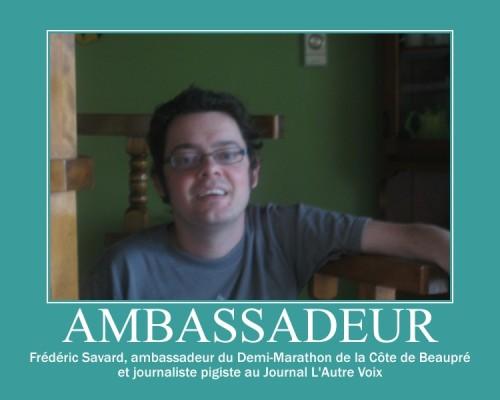 ambassadeur du Demi-Marathon de la Côte de Beaupré, Frédéric Savard