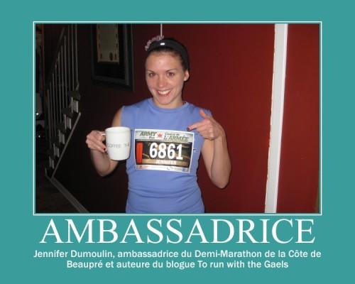 Ambassadrice du demi-marathon de la Côte de Beaupré, Jennifer Dumoulin